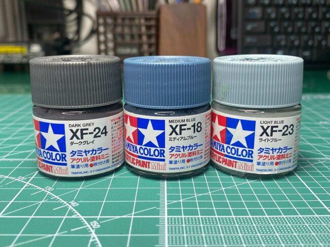 スプリッター迷彩 タミヤアクリルミニ水性塗料3種類